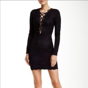 Missguided Scalloped collar lace up dress